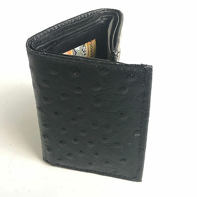 Black Genuine Leather Men's Trifold Wallet Ostrich Print Thin Card Holder