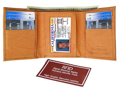 Tan RFID Blocking Men's Genuine Leather Trifold Wallet ID Card Holder