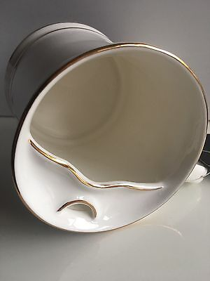 """The Cup and The Lip """"LipMaster"""" mustache cup, coffee mug—White with Gold trim."""