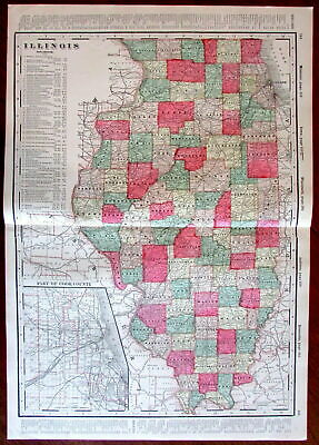 Illinois state by itself c.1880's large lithographed hand color old map
