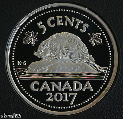 2017 Canada Classic design 5 cent Nickel 99.99% silver coin in proof finish