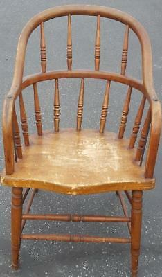 Antique All Wood Windsor Style Arm Chair - GDC - NICE ANTIQUE COLLECTIBLE CHAIR