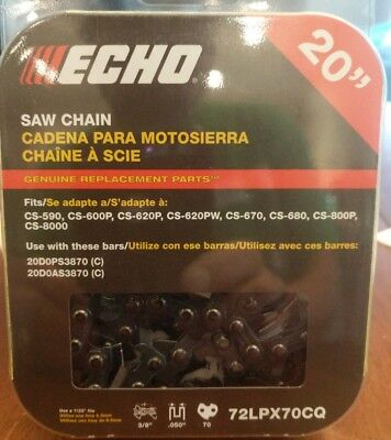 Echo 72LPX70CQ 20 in 3/8 in Pitch - 70 Drive Links Chainsaw Chain - OEM NEW