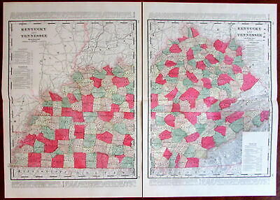 Kentucky and Tennessee c.1880's large lithographed hand color old map 2 sheets