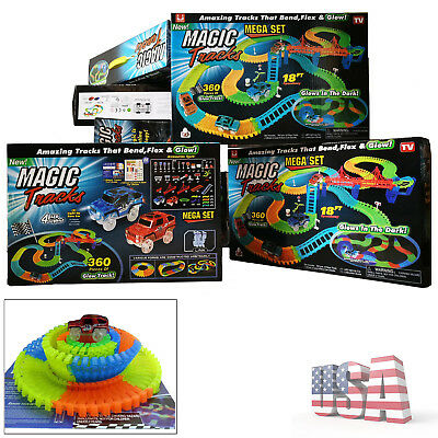 Magic Tracks 18 ft 360 PCS Mega Set Glow In The Dark Toys 2 LED Cars