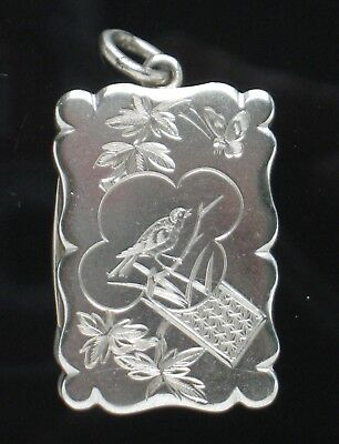 English Silver Vinaigrette Aesthetic Period 1881 Engraved Birds D&N