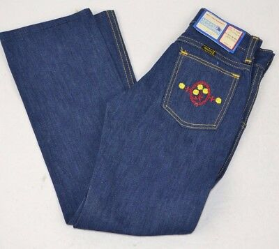 Vtg Young MAVERICK Girls Denim BLUE JEANS Embroidered CAMEO FLORAL 6 Slim USA