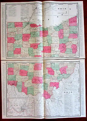 Ohio state by itself c.1880's large lithographed hand color old map 2 sheets