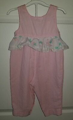 Vintage 1980's 18 months romper one piece girls pink gingham strawberry ruffle