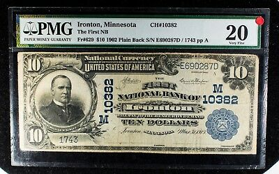 1902 $10 PMG VF20 Ironton, Minnesota National Bank Note CH#10382 Item#T5888
