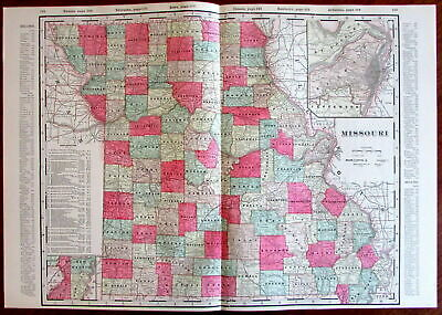Missouri state by itself c.1880's large lithographed hand color old map