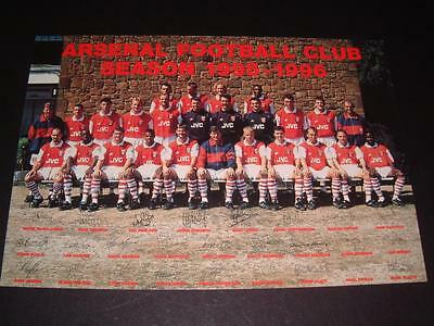 ARSENAL FC 1995-96 SIGNED (PRE-PRINTED) x 26 OF SQUAD RARE OFFICIAL CLUB CARD