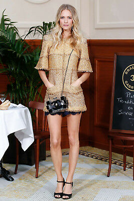 CHANEL 15C Cruise Resort Dubai Collection Gold Glitter Tweed Jacket Dress 36 FR