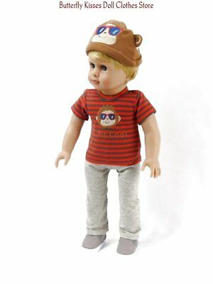 Cool Monkey T-Shirt +Hat+Pants 18 in Doll Clothes Fits American Girl Boy Dolls