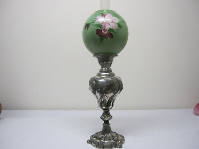 Rare Antique Silver Plated Jr Banquet Lamp Signed Sheffield,Floral Ball Shade