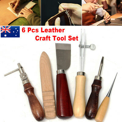 AU 6pcs Wood Handle Leather Craft Tool Kit Leather Hand Sewing Tool Punch Cutter