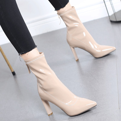 Sexy Womens Stilettos High Heel Knee High Boots Patent Leather Pointy Toe Shoes