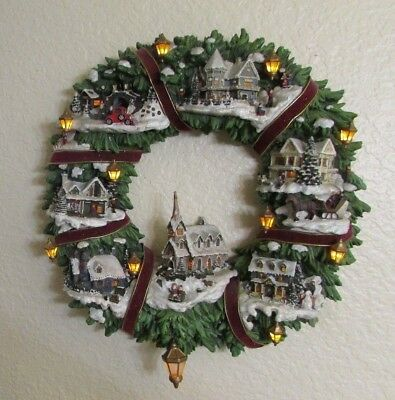 Thomas Kinkade Christmas Village Wreath Lighted Limited Edition