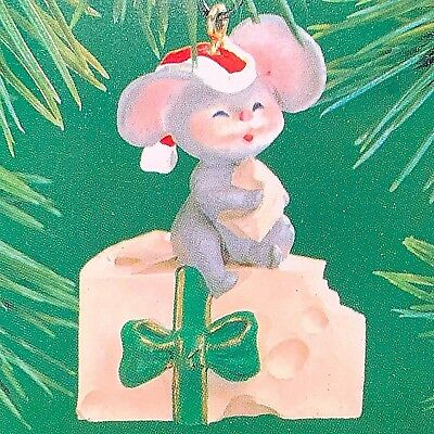Christmas Mouse On Cheese - 1983 Hallmark Ornament