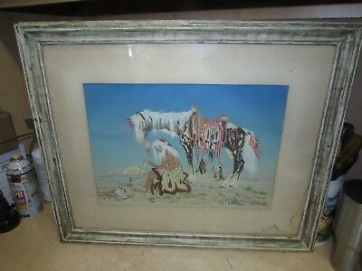 VINTAGE Woody Crumbo Native American Indian W HORSE SUNSET BUZZARDS PRINT