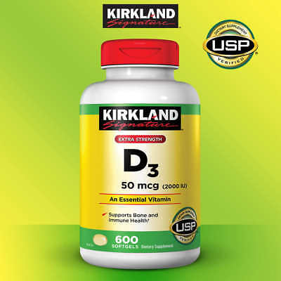 Kirkland Signature Extra Strength VITAMIN D3 2000 IU, 600 Softgels Exp 2020