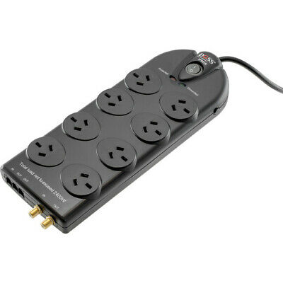SPB81B 8 Way Surge Protected Powerboard Black Doss Power Rating: 10A @ 240V 8
