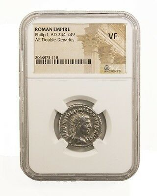 Philip I, Ancient Roman Silver Coin,  NGC (VF)