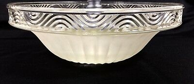 """Vtg Art Deco 10 1/4"""" Frosted Ribbed Clear Glass Ceiling Light Lamp Shade 1 Hole"""