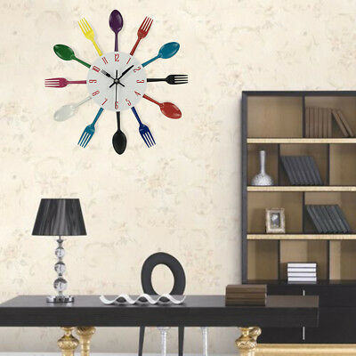 Multicolor Home Decoration Cutlery Kitchen Utensil Spoon Fork Clock Wall Clock