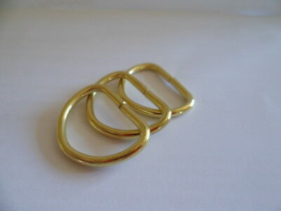 METAL 19MM 25MM D RINGS CURTAIN TIEBACK, WEBBING BUCKLE, BAG MAKING - Gold brass
