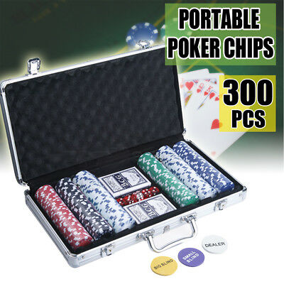 Fun Playing Set 300 Dice Chips Poker Chip Set in Aluminum Metal Carry Case USA
