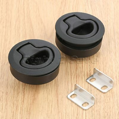 "2x Black Slam Latch Hatch Flush Pull Door Deck Boat Sailboat for 2"" Cutout Hole"