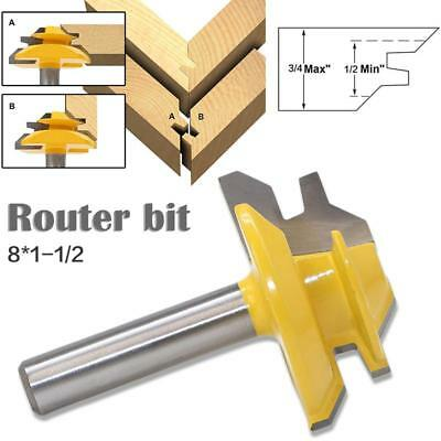 45 Degree 8*1-1/2 Shank Lock Miter Router Bit Tungsten Woodworking Cutter Tools