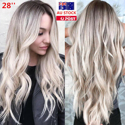 28'' Women Long Wavy Curly Ombre Synthetic Hair Cosplay Party Full Wig + Wig Cap