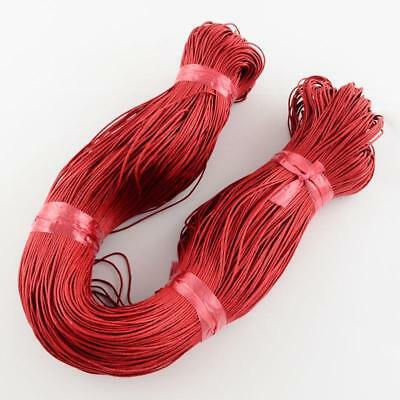 20 Metres WAXED COTTON CORD 1mm CRAFT JEWELLERY MAKING STRINGING RED