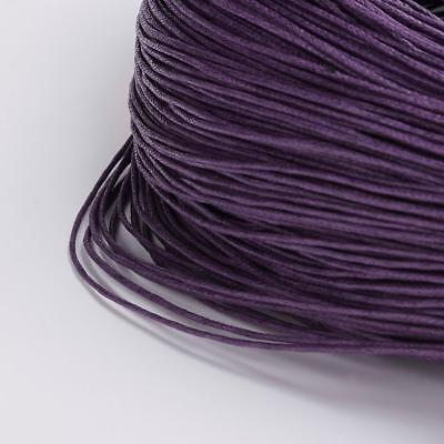 20 Metres WAXED COTTON CORD 1mm CRAFT JEWELLERY MAKING STRINGING Purple