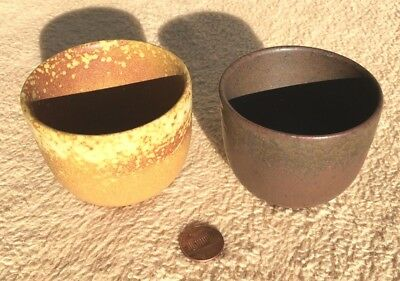 Vintage Japanese TEACUP Utsutsugawa-ware clay glaze pottery JAPAN tea Set of 2