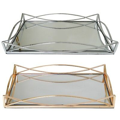 Metal Serving/Dressing Table Tray With Mirror Base