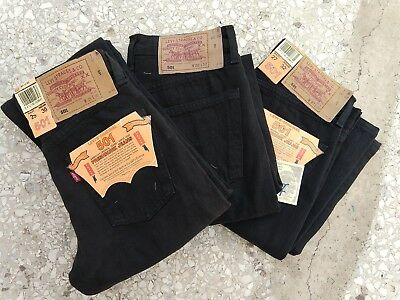 Vintage 90s Black Levis 501 Jeans Button Fly Deadstock 25 26 27 Made in Spain