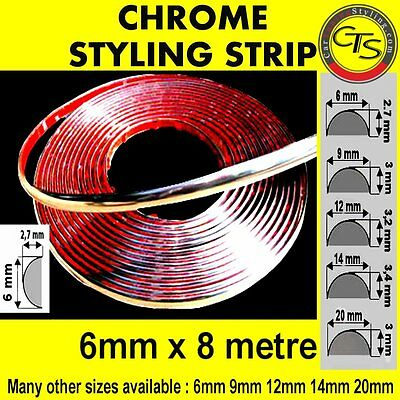 6mm x 8m CHROME DECORATION BANDE DE PORTE bord CHEVROLET CHRYSLER DAEWOO