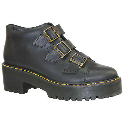 Dr.Martens Coppola Leather Buckle Ankle Block Heel Womens Boots