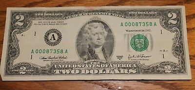 000 zero low Fancy Serial RARE 2003 series $2 BILL TWO DOLLAR NOTE A Boston