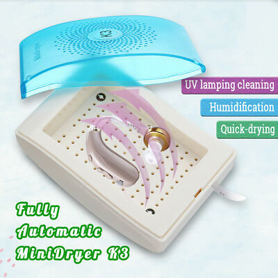 Electric Hearing Aid Dryer Drying Case Box UV Light Moisture Proof Dehumidifier