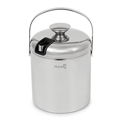 Homiu Stainless Steel Double Wall 1.5 L Ice Bucket Ice container with Tongs and
