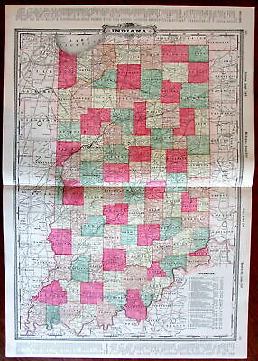 Indiana state by itself c.1880's large lithographed hand color old map