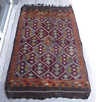 Tribal RUG 3 x 5 ft Turkish Kilim Antique Rug Old Tapis Vintage Colorful Rugs
