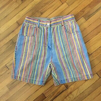 VINTAGE 1990s High Waisted Vertical Striped Women's Shorts Sz 7 / 8 Multi Color
