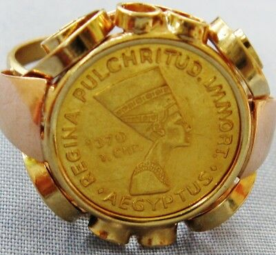 Lovely Rare Vintage Solid 14K Gold Egyptian Coin Ring Queen Nefertiti Size 6 3/4