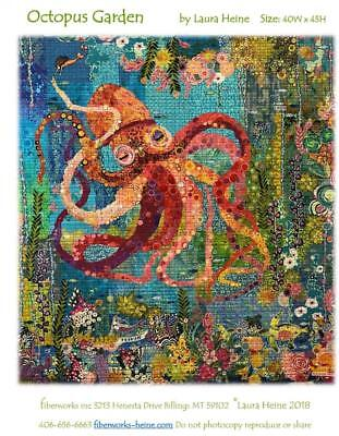 Octopus Garden Sealife Collage Laura Heine Fiberworks Fused Art Quilt Pattern