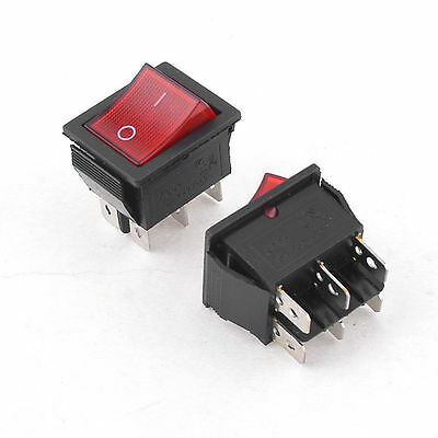 1Pcs 15A 250VAC 2 Position 6 Pin Red Light ON/OFF DPDT Boat Rocker switch
